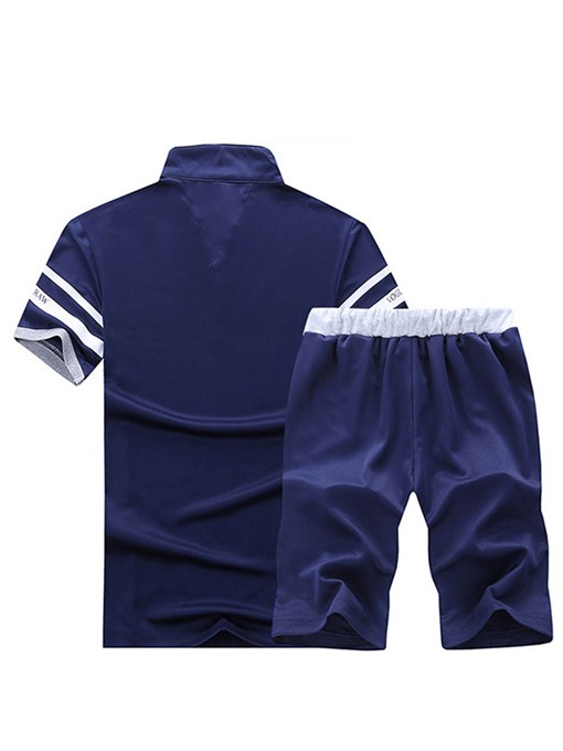 Ericdress Stripe Color Block Mens Summer Sports Suits