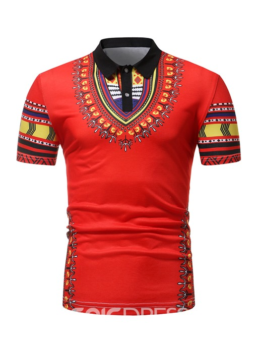 Ericdress Print Dashiki Mens Short Sleeve Polo T Shirt