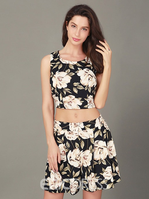 Ericdress Backless Vest and Shorts Women's Two Piece Set