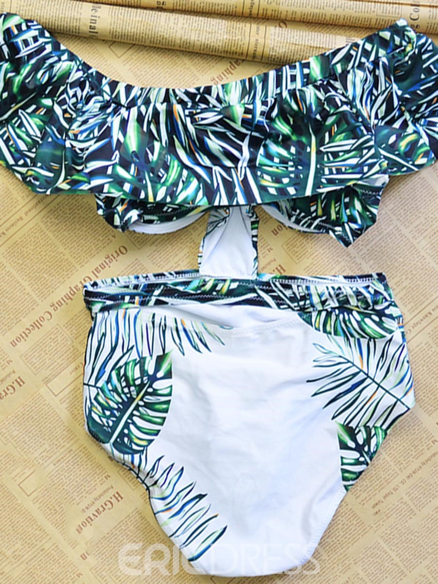 Ericdress Off the Shoulder Floral Green One Piece Bathing Suits