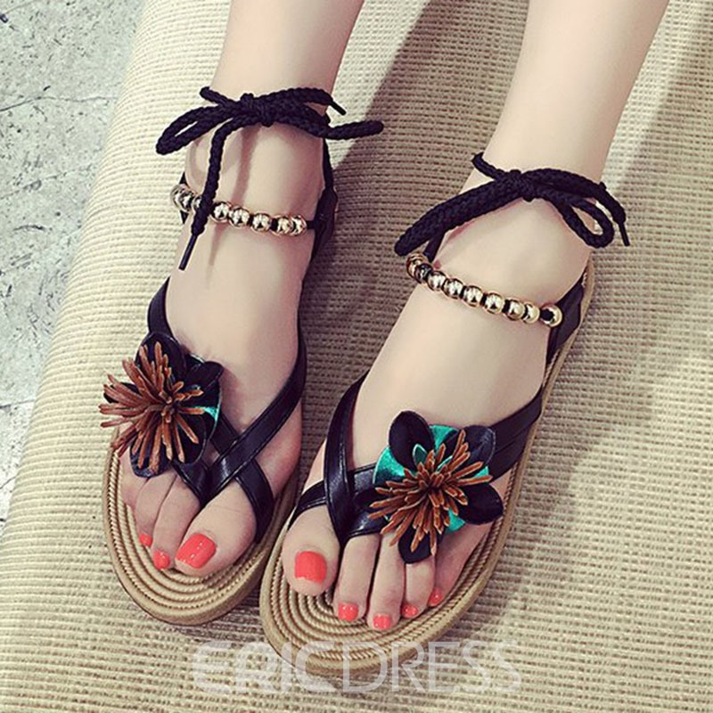 Ericdress Bohemia Style Lace up Flat Sandals