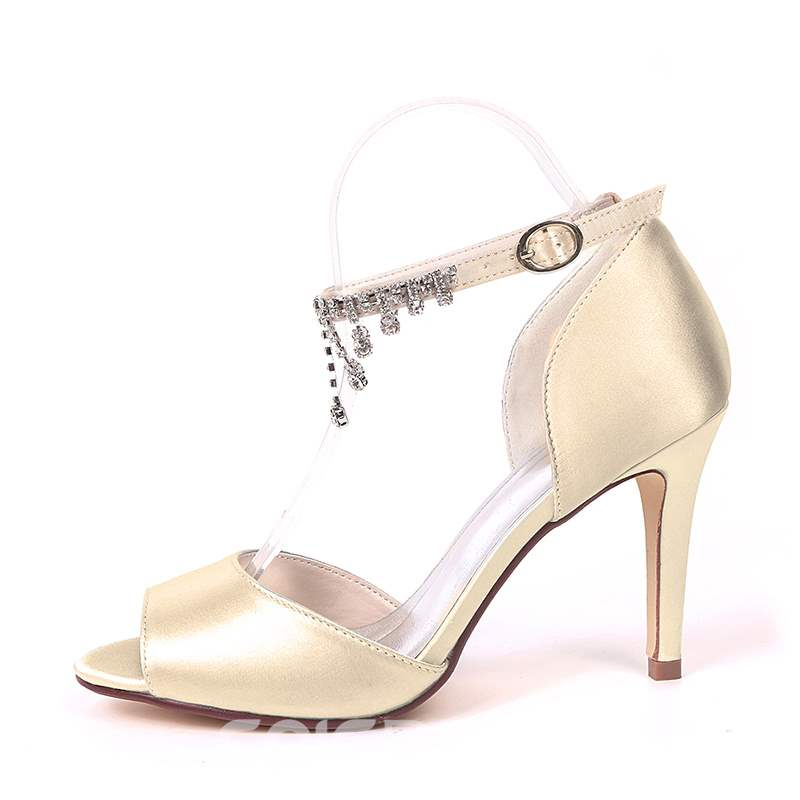 Ericdress Rhinestone Peep Toe Line-Style Buckle Wedding Shoes