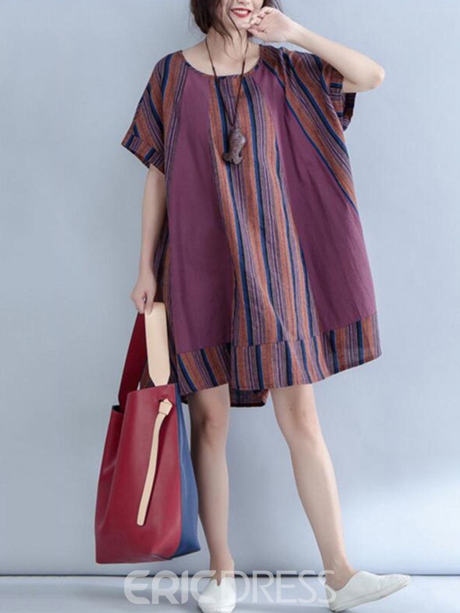 Ericdress Stripe Patchwork Expansion Casual Dress