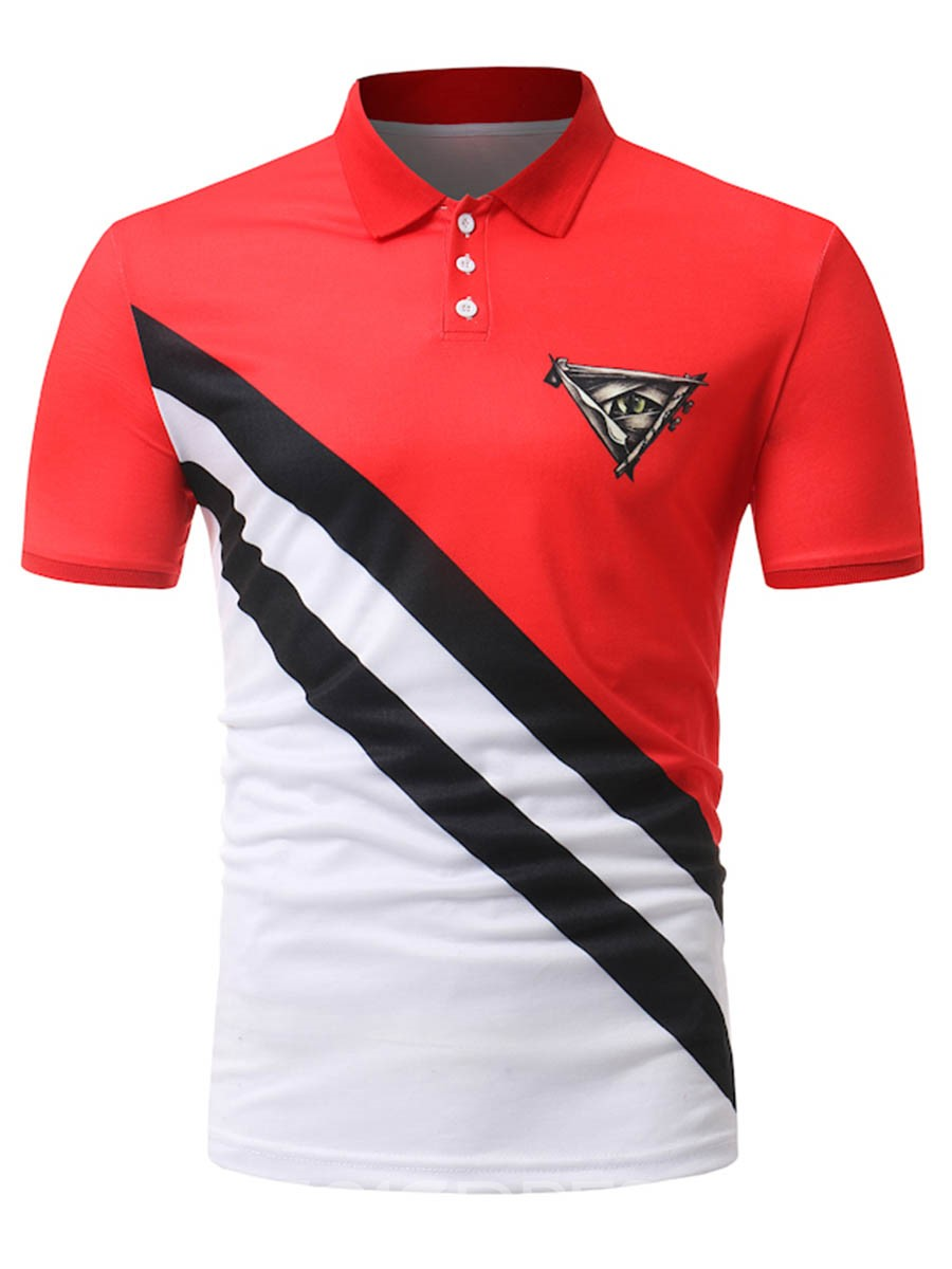 Ericdress Stripe Color Block Patchwork Mens POLO T Shirt