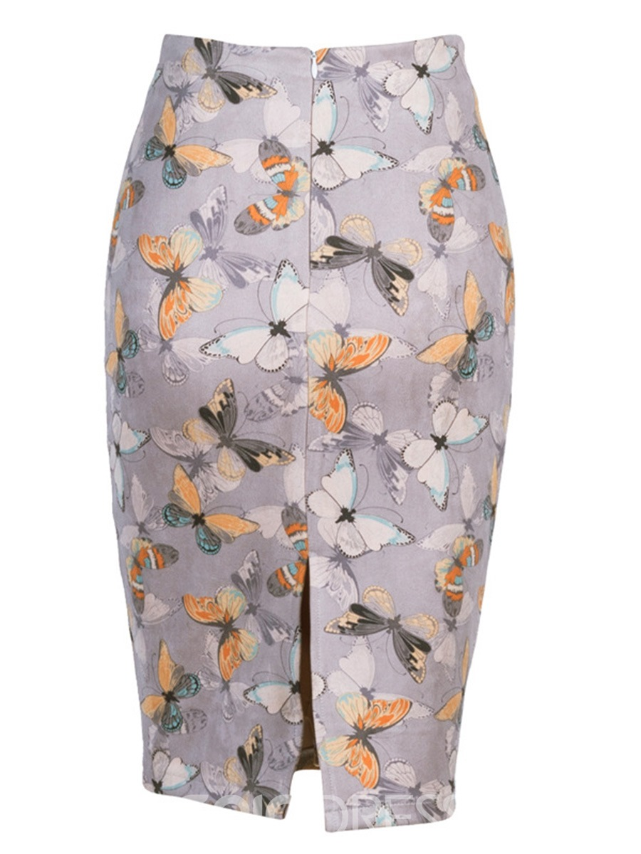 Ericdress Bodycon Knee-Length Print Women's Skirt