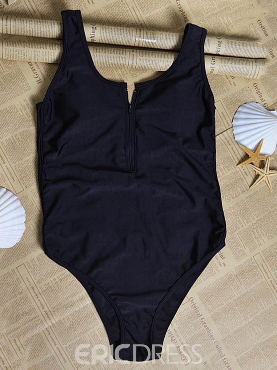 Ericdress Black Plain Backless One Piece Bathing Suits
