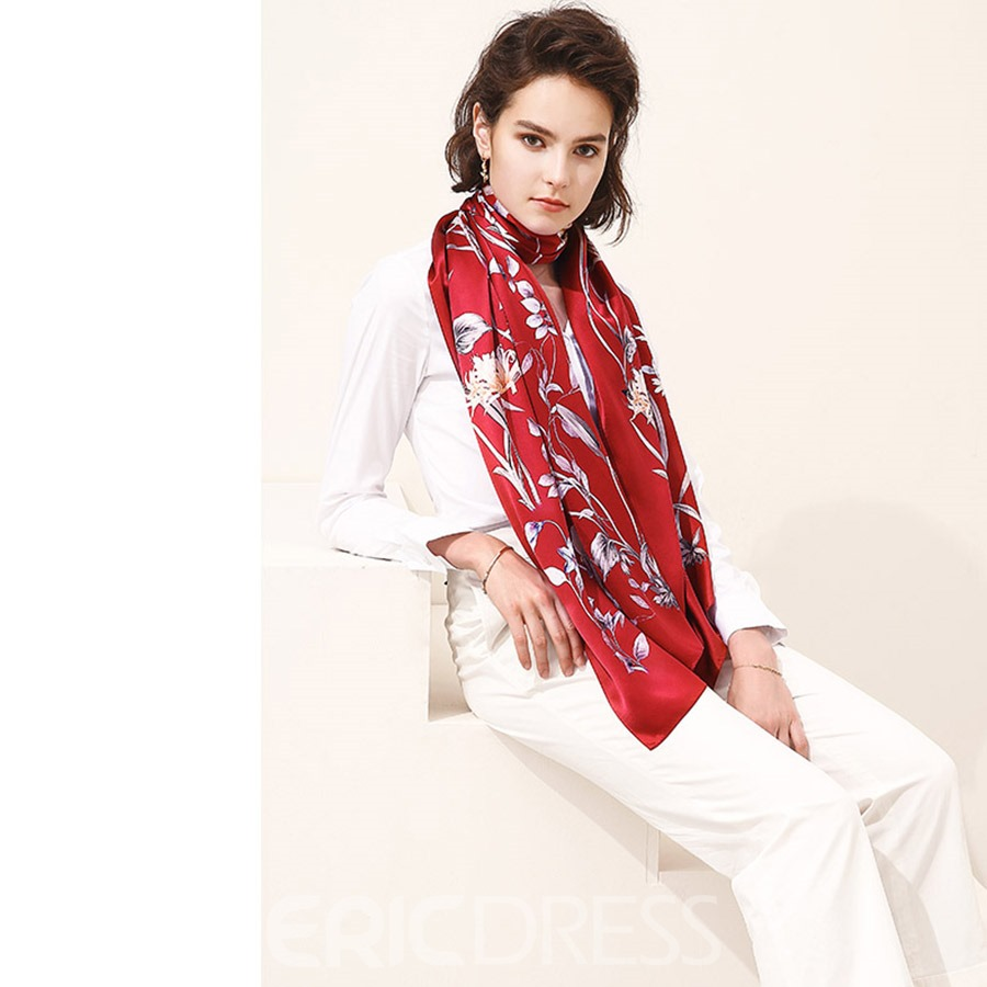 Ericdress Silk Flower Printing Rectangle Women's Scarf