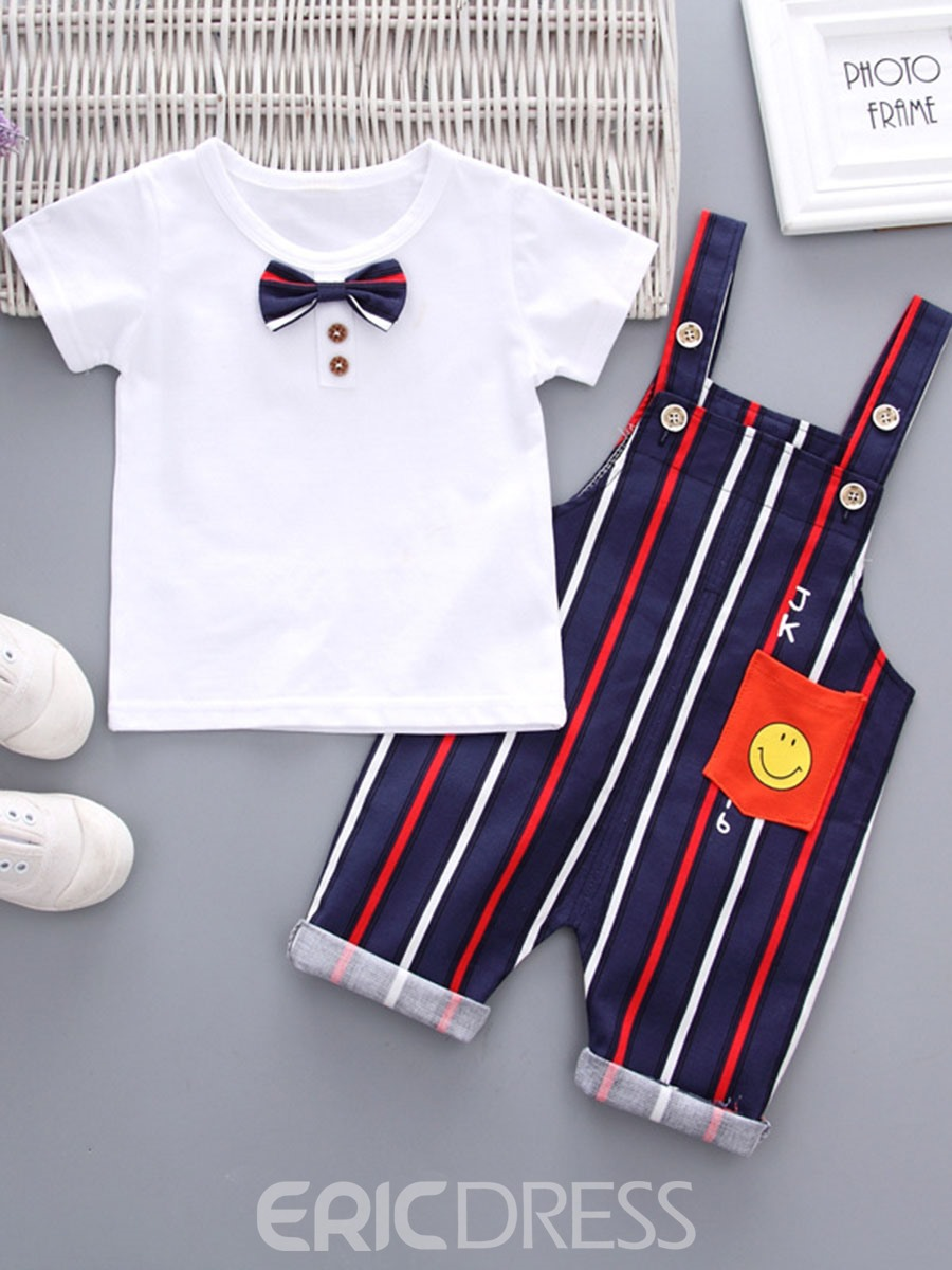 Ericdress Plain T Shirts Striped Jumsuits Baby Boy's Outfits