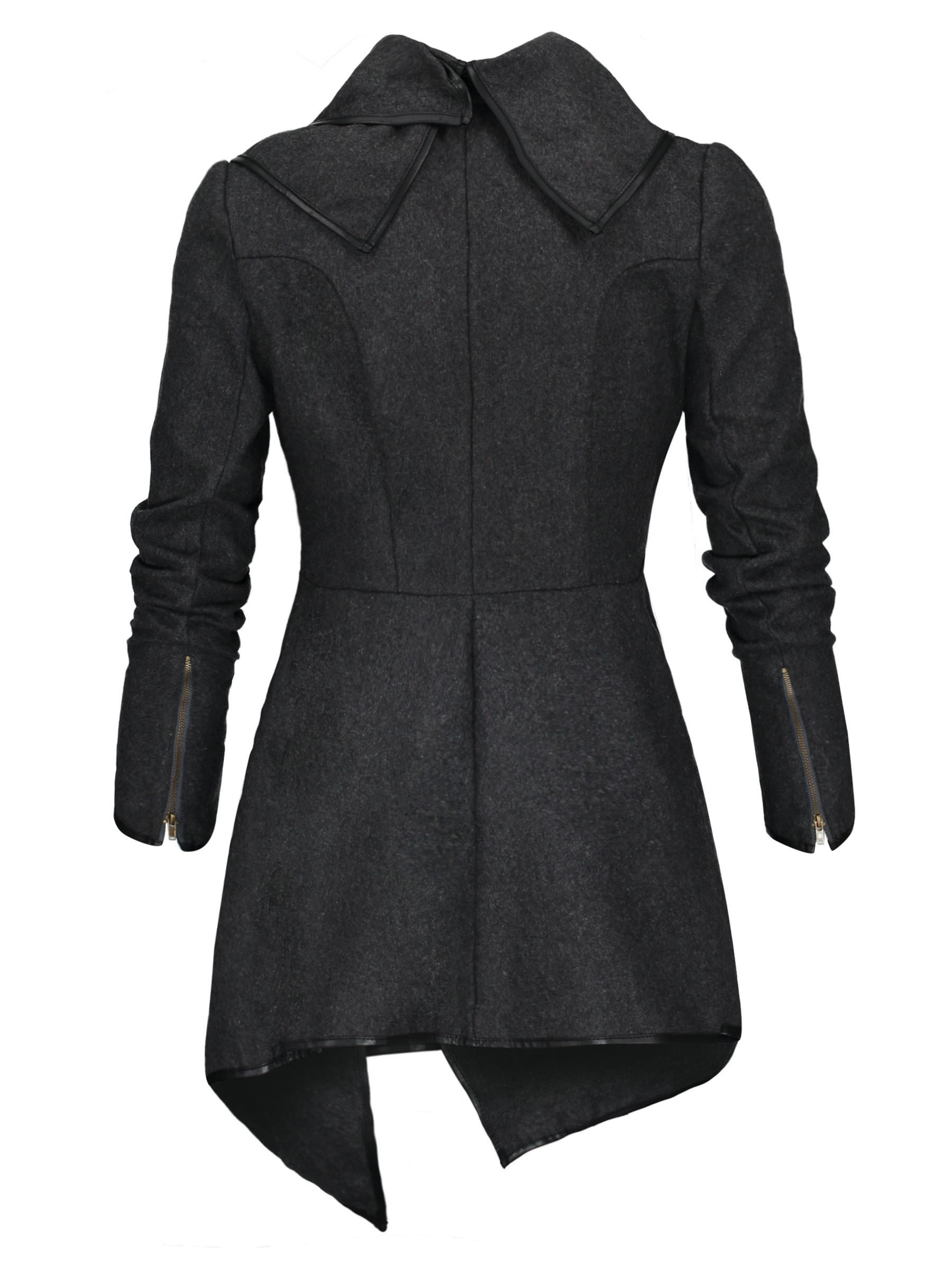 Ericdress Asymmetrical Plain Trench Coat