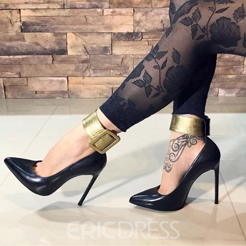 Line-Style Buckle Pointed Toe Stiletto Heel Pumps