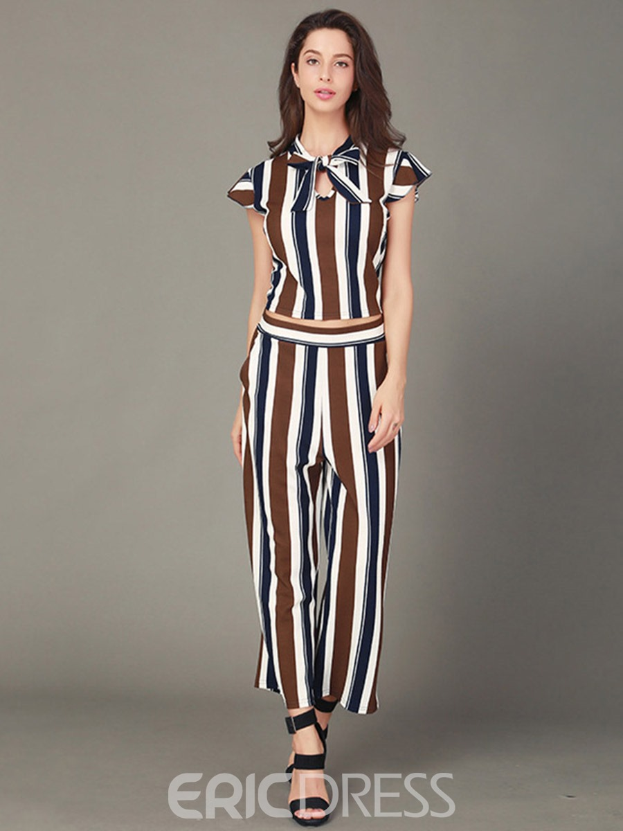 Ericdress Stripe Bowknot Tops and Ankle Length Pants Women's Two Piece Set