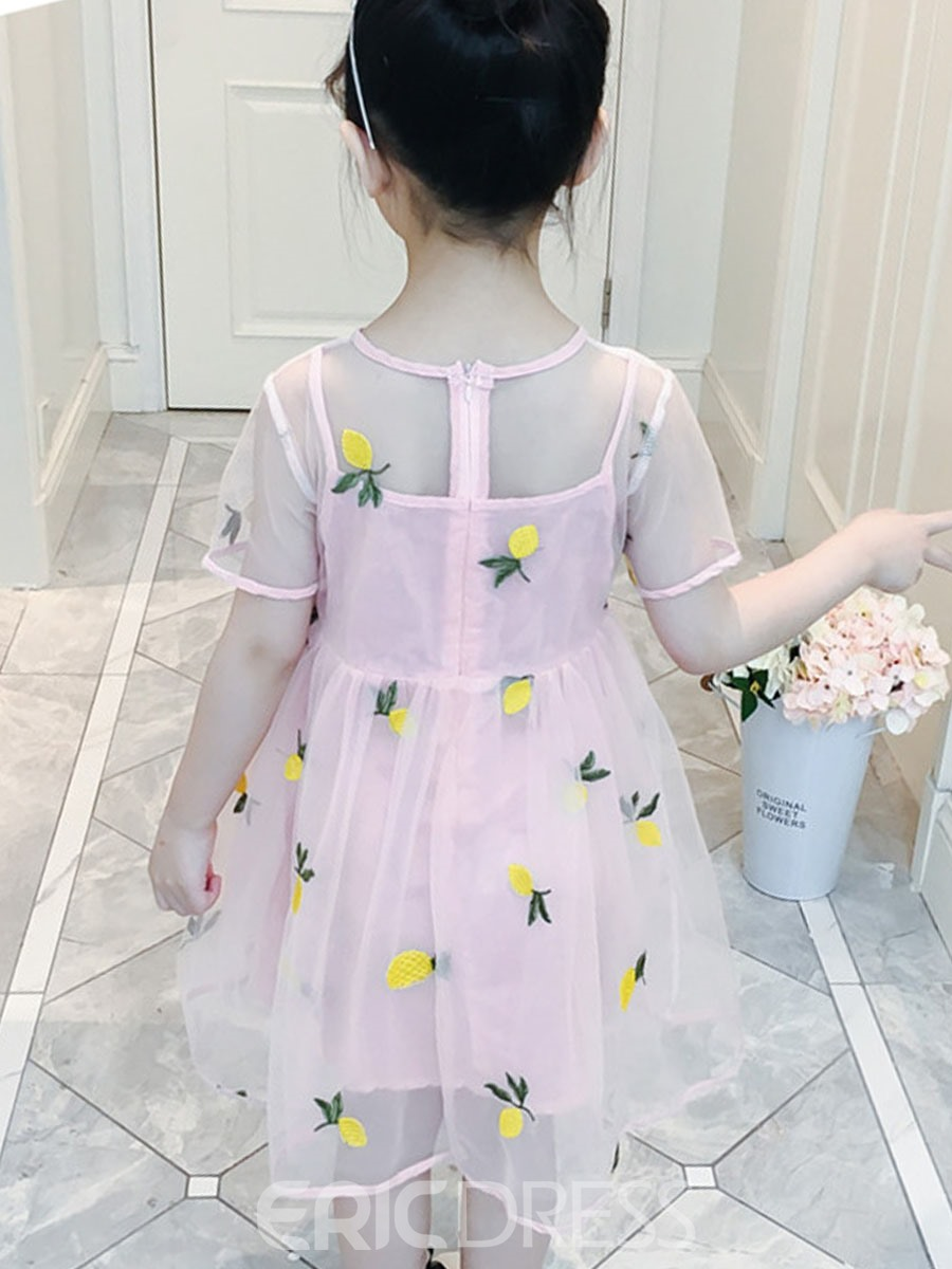 Ericdress Embroidery Mesh Pleated Girl's Short Sleeve Princess Dress