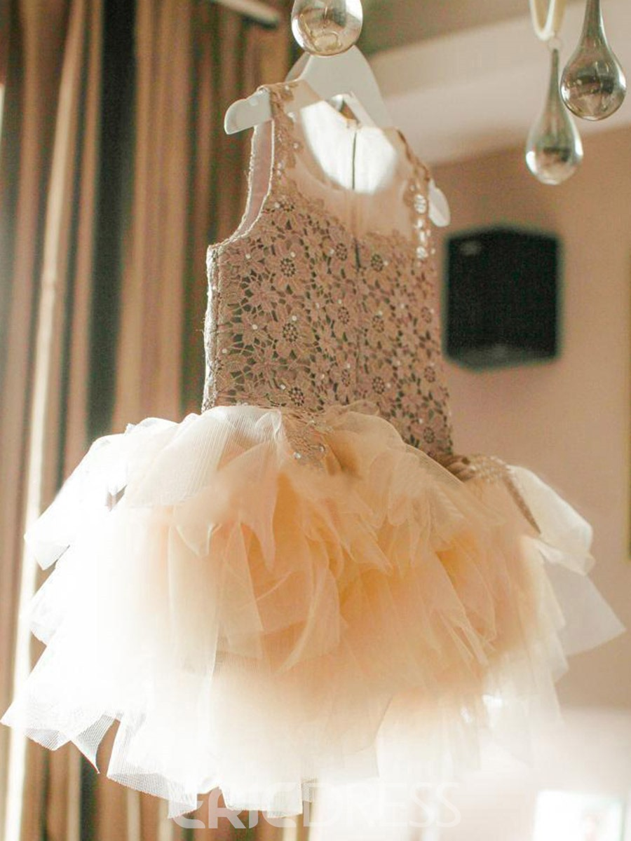 Ericdress Mesh Lace Plain Girl's Princess Dress Ball Gown
