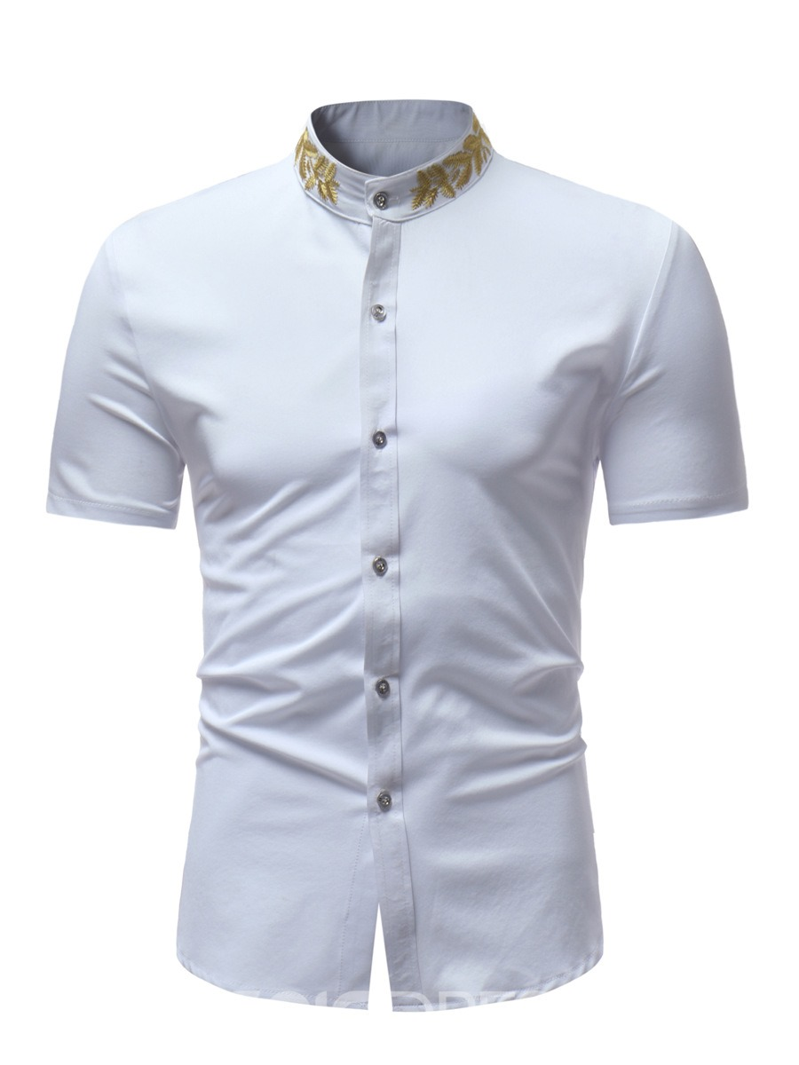 Ericdress Plain Stand Collar Printed Mens Short Sleeve Shirts