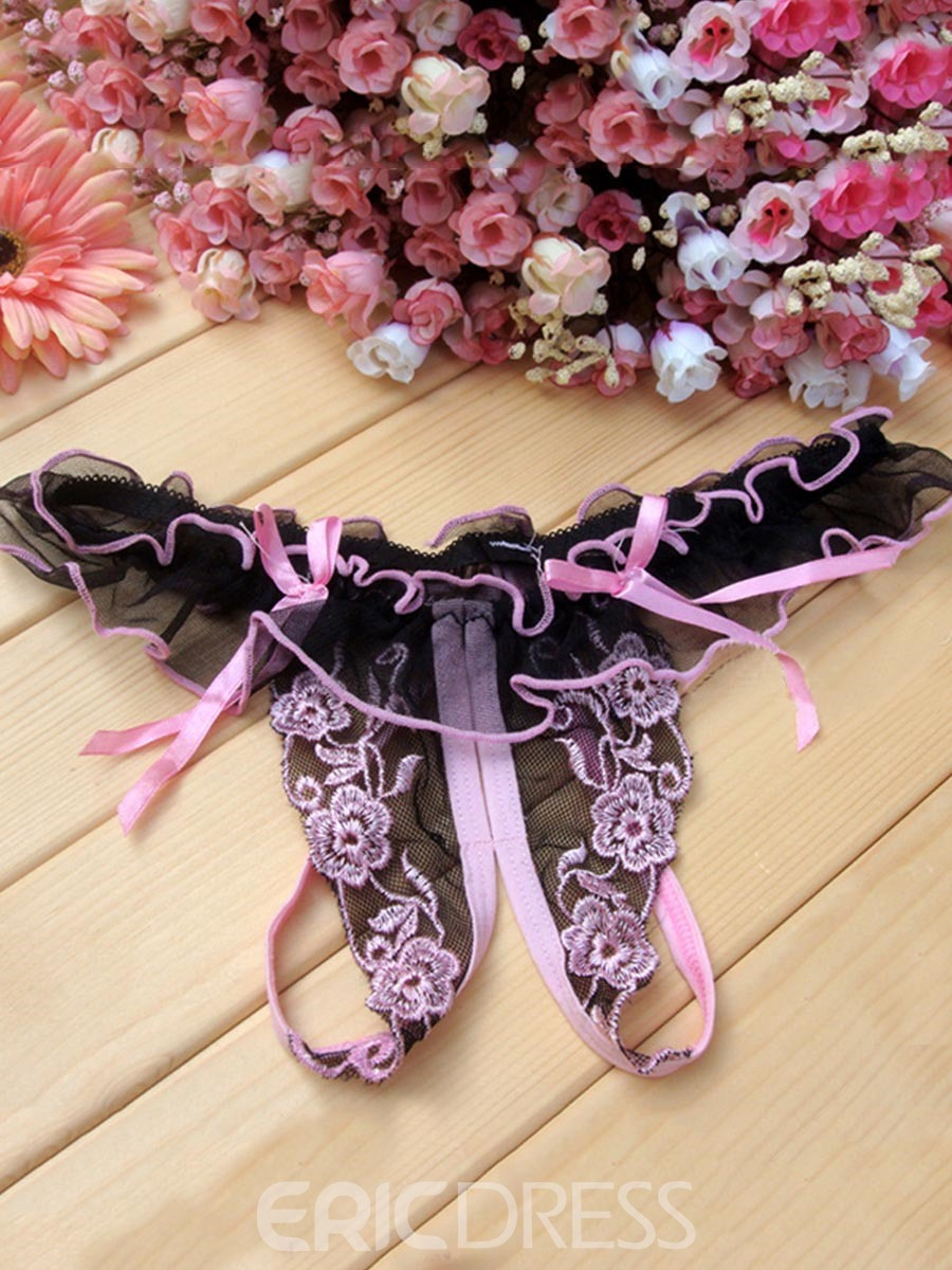 Ericdress Lace Low Waist Embroidery Thongs