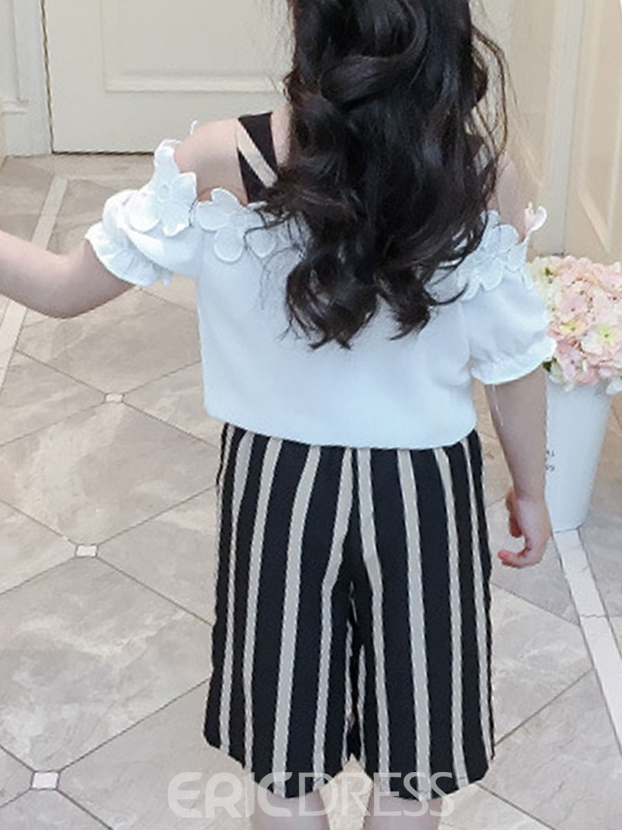 Ericdress Lace Up Pocket T Shirt & Stripe Shorts Girl's Summer Outfits