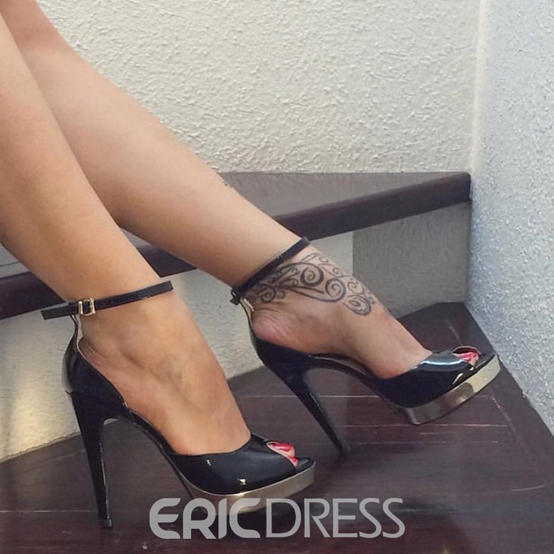 Ericdress PU Plain Peep Toe Stiletto Heel Pumps
