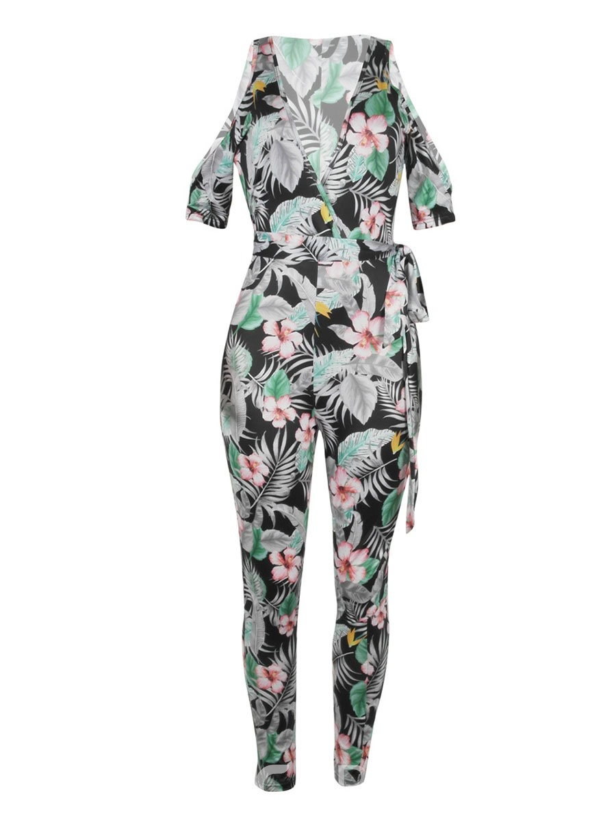 Ericdress Floral Print Off Shoulder Women's Jumpsuit
