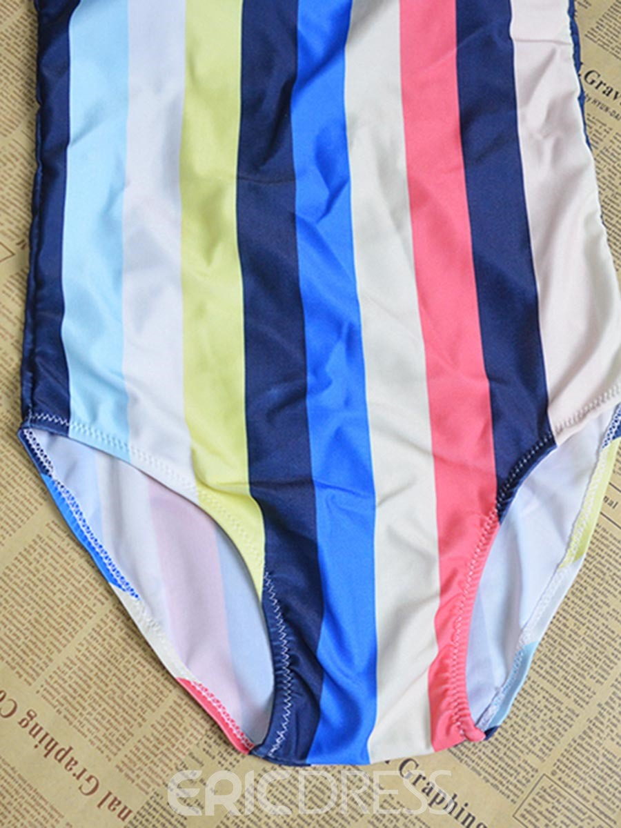 Ericdress Colorful Stripe One Piece Bathing Suits
