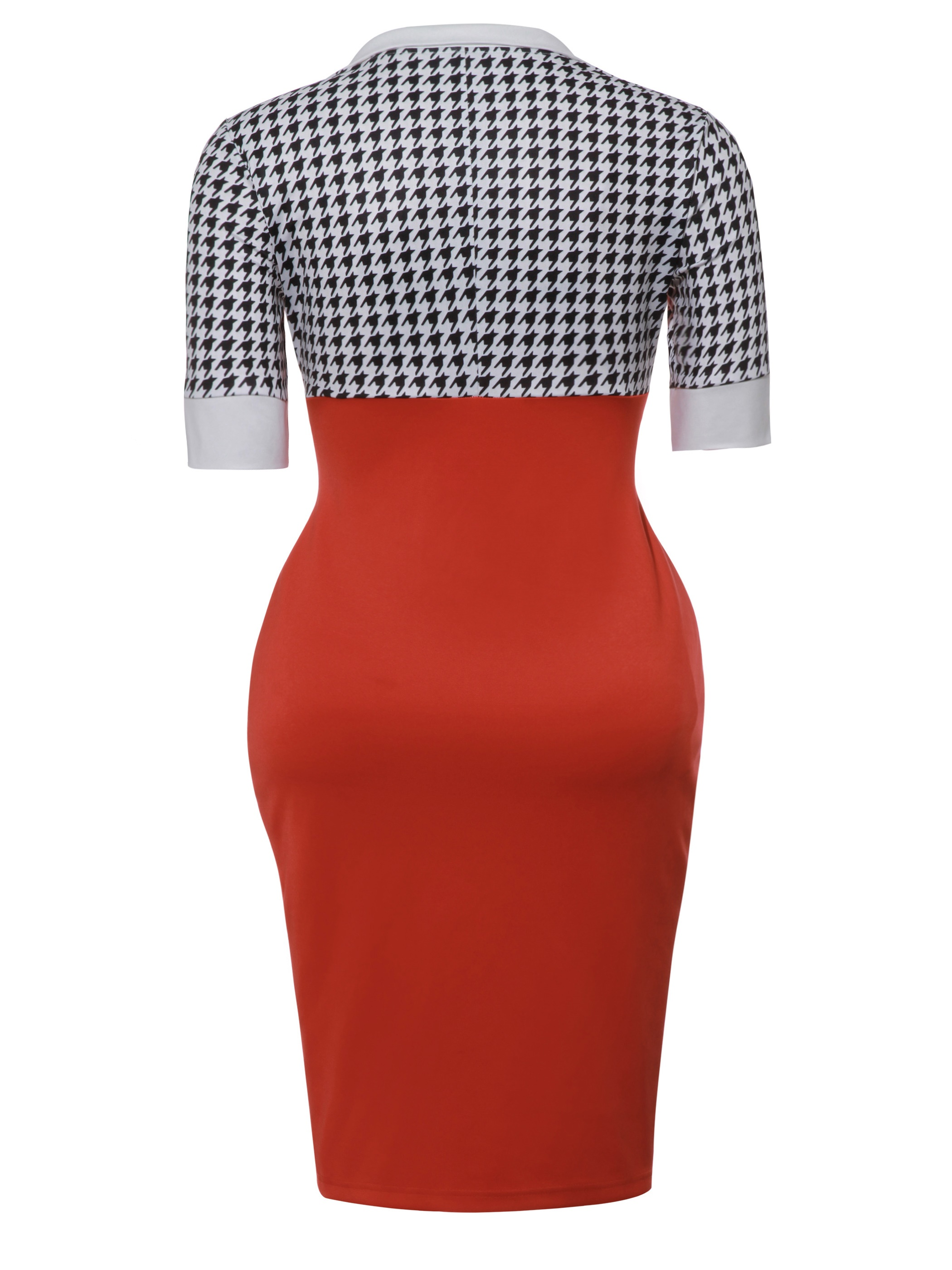 Ericdress Plaid Half Sleeves Color Block WIth Side Slit Bodycon Dress