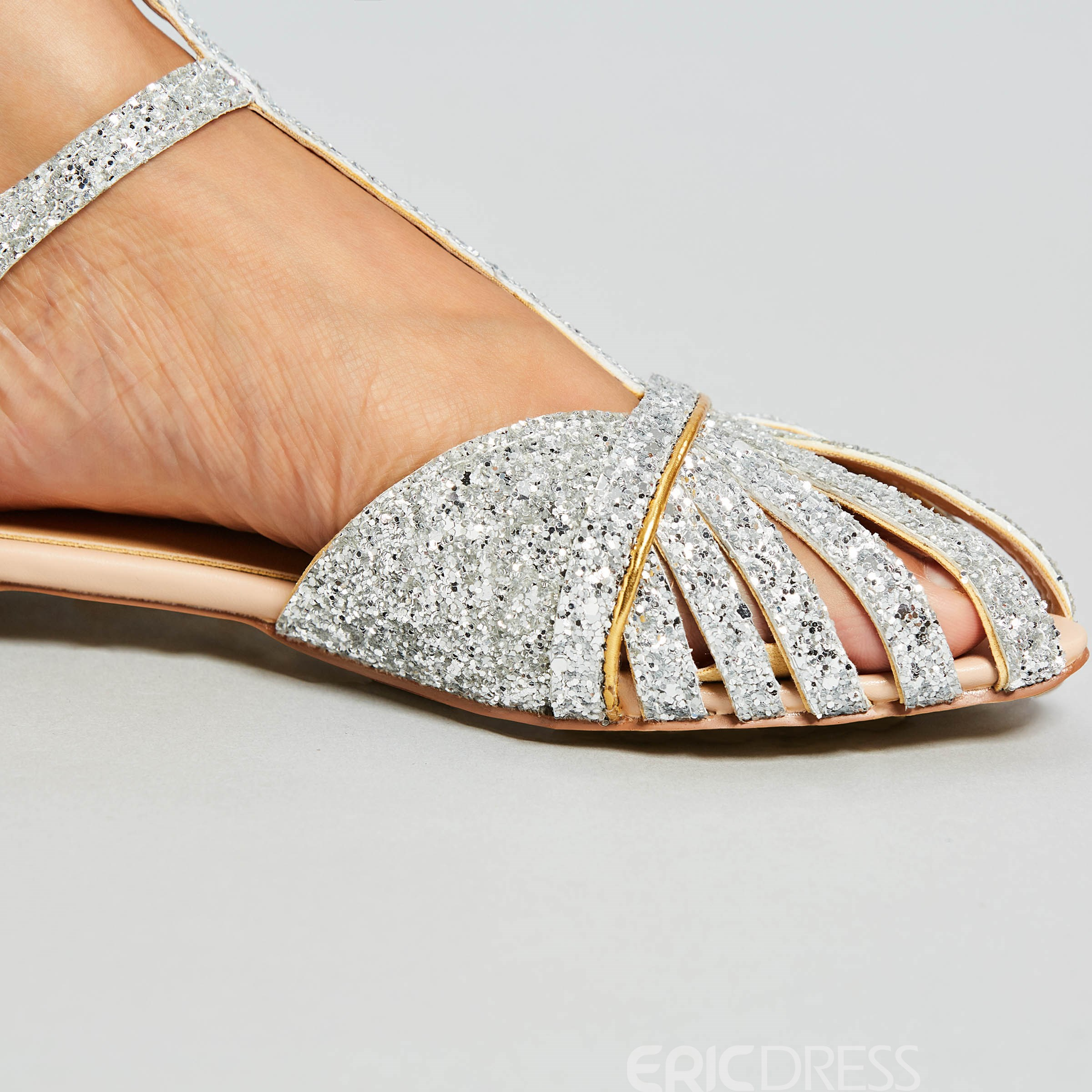 Ericdress Sequin Pointed Toe Flat Sandals