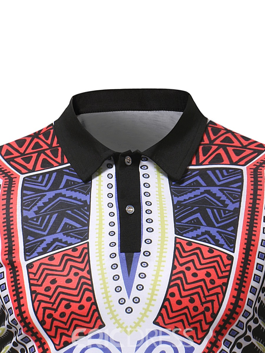 Ericdress African Print Dashiki Mens Short Sleeve Polo T Shirt
