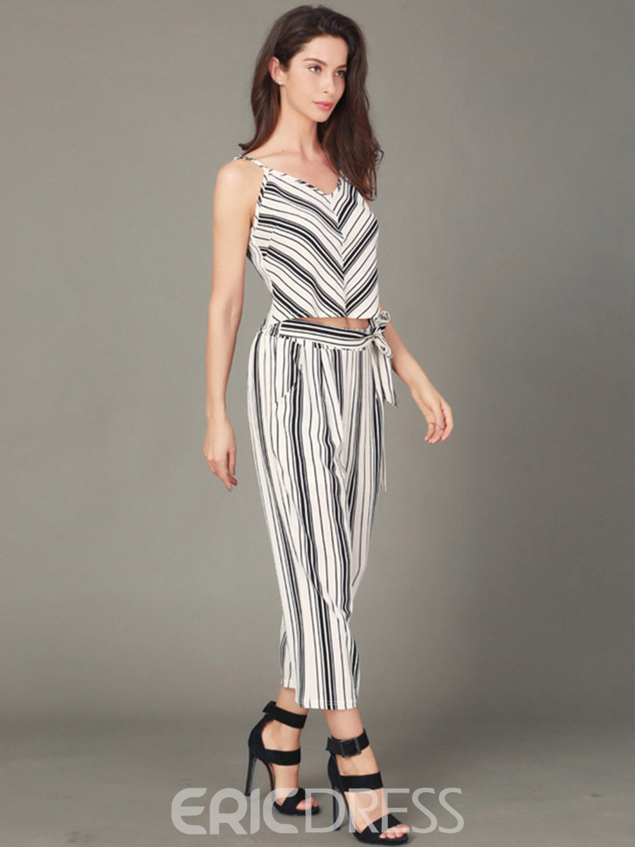 Ericdress Stripe Vest and Pants Women's Two Piece Set