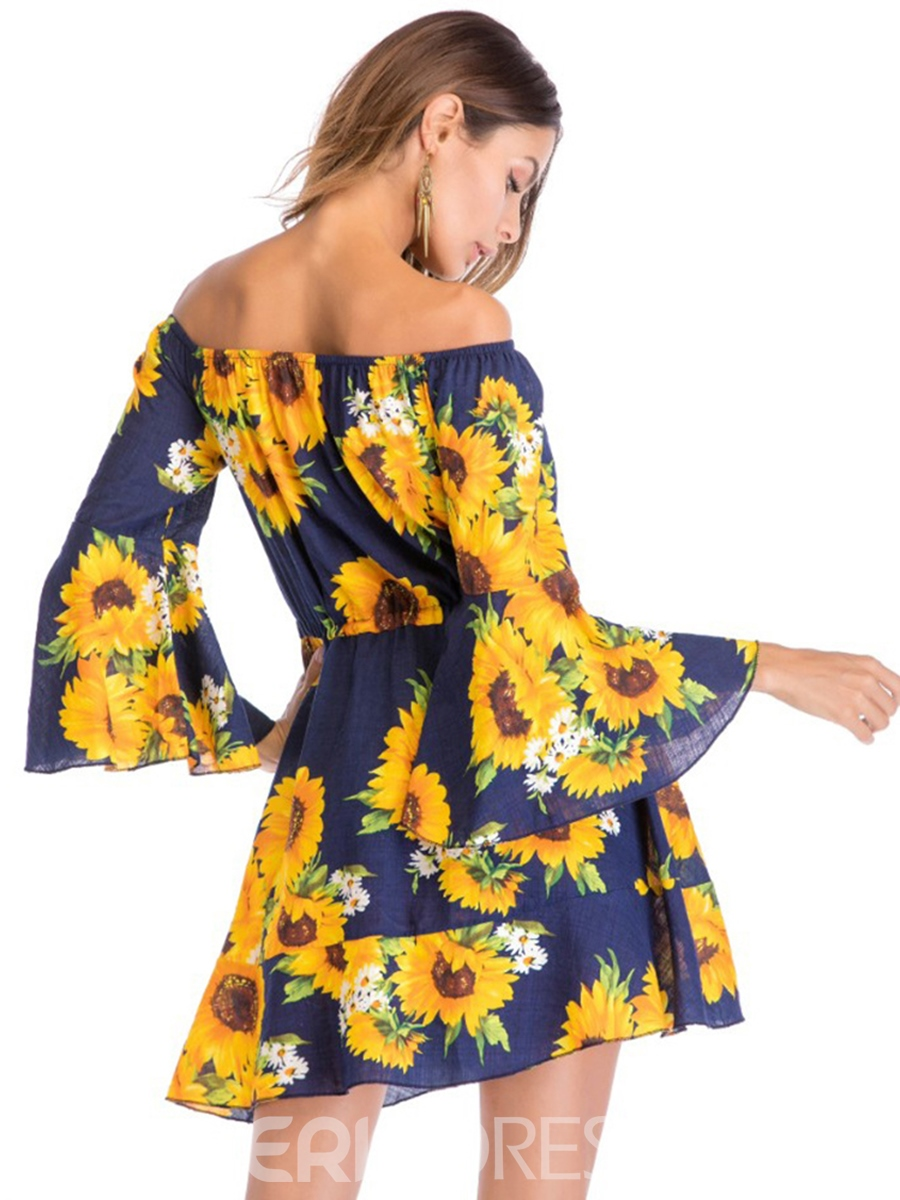 Ericdress Flare Sleeve Floral Off-The-Shoulder A-Line Dress