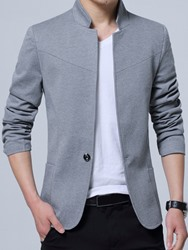 Ericdress Solid Color Stand Collar Mens Blazer фото