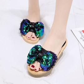 Ericdress Sequin Slip-On Mules Shoes with Bowknot
