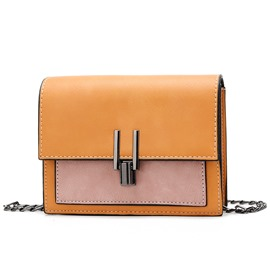 Ericdress Color Block Synthetic Leather Crossbody Bag