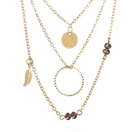 Ericdress Leaves Crystal Chain Necklaces