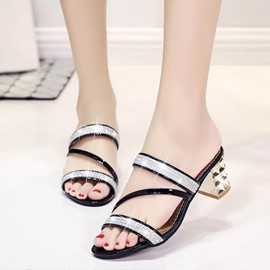 Ericdress Rhinestone Flip Flop Chunky Heel Mules Shoes