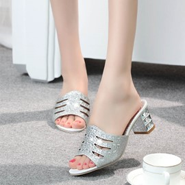 Ericdress Rhinestone Slip-On Chunky Heel Mules Shoes