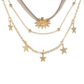 Ericdress Sun&Star Three Chain Choker Necklace