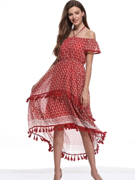 Ericdress Tassel Asymmetrical Off-The-Shoulder Casual Dress