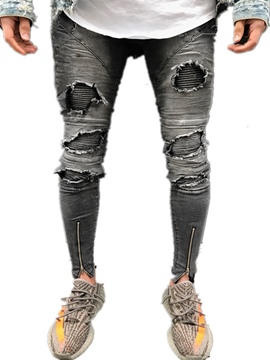 Ericdress Worn Slim Ripped Zipper Men's Denim Pencil Pants