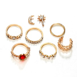 Ericdress Vintage Ruby Moon&Star Earring
