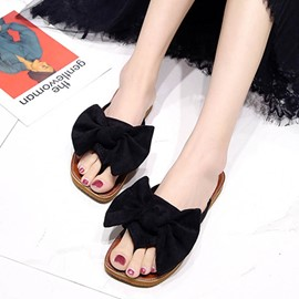 Ericdress Plain Slip-On Mules Shoes with Bowknot