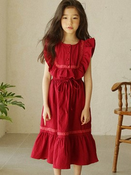 Ericdress Ruffles Pleated Lace Up Button Girl's Summer Dress