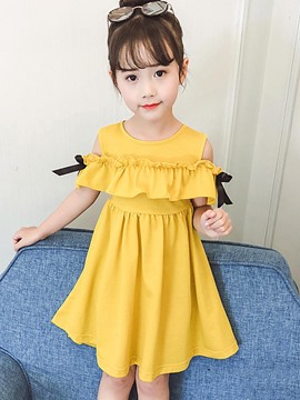 Ericdress Plain A-Line Bowknot Off-Shoulder Girl's Casual Dress