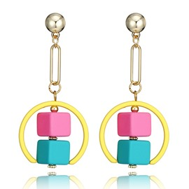 Ericdress Childlike Colorful Boxes Drop Earring