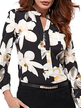 Ericdress Floral Print Notch-V Long Sleeve Blouse
