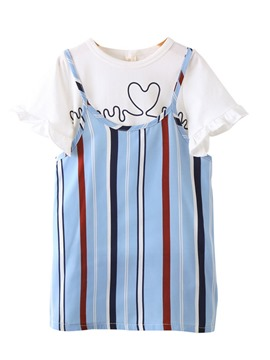 Ericdress Ruffles Vertical Stripe Color Block Girl's Outfits