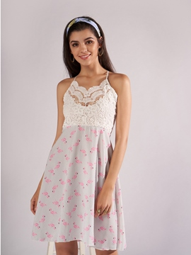 Ericdress White Hollow Backless Lace A-Line Dress