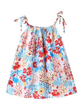 Ericdress Spaghetti Strap Floral Print Baby Girl's Dress