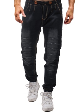 Ericdress Black Lace Up Pleated Skinny Mens Jeans