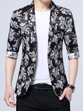 Ericdress Floral Print Three Quarters Sleeve Men's Blazer Coat