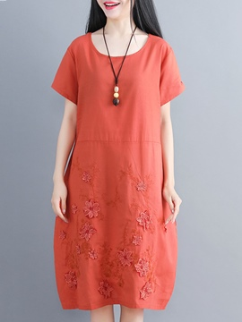 Ericdress Embroidery Pullover Casual Dress