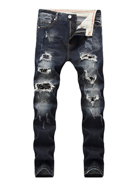 Ericdress Worn Ripped Slim Denim Men's Jeans